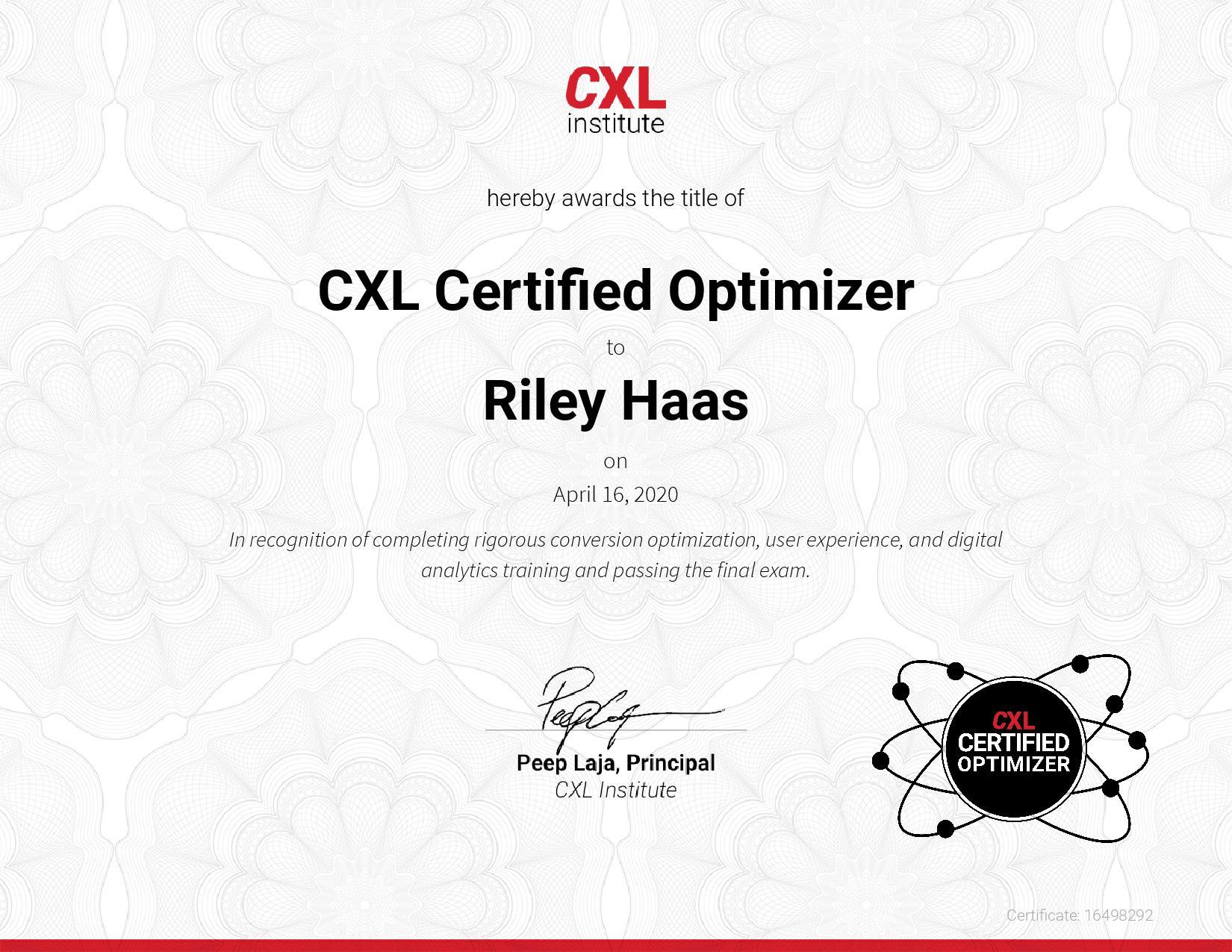 CXL Certified Optimizer